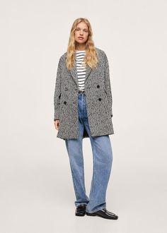Herringbone double-breasted coat - Women | Mango USA Chevrons, Mango Fashion, Double Breasted Coat, Neck Collar, Herringbone, Coats For Women, Fabric Design, Latest Trends, Cool Outfits