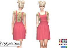 """nygirlsims: """" Overall Dress with Floral Tee. Overall style dress with mid length skirt and a floral tee underneath. Made from a mixture of TS3 and TS4 textures. Mesh edit by me. Comes in 20..."""