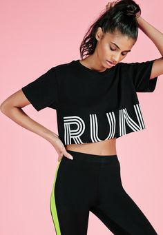 Ready to run? In a soft black jersey material, this slogan crop top is the perfect piece to keep in your gym kit. With a standout white slogan to the front and short sleeve finish, you'll totally be bringing your A-Game! Layer over a contr. Cut Tee Shirts, Tees, Gym Slogans, Look T Shirt, Denim Look, Gym Tops, Gym Design, Womens Workout Outfits, Active Wear For Women