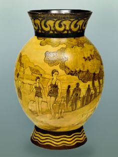 Charles Catteau,Vase with decorative figures in bathing costumes, strollers and anglers by a river. 1935