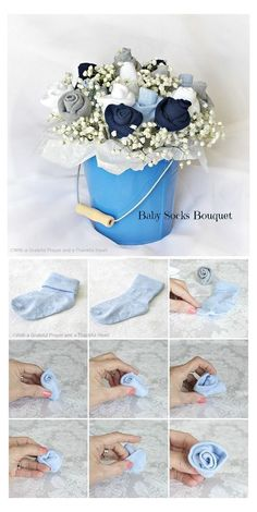 Baby Shower Table, Baby Shower Cakes, Baby Shower Ideas For Girls Decorations, Baby Showers, Baby Shower Parties, Bathroom Showers, Baby Shower Mixto, Baby Sock Bouquet, Diaper Bouquet