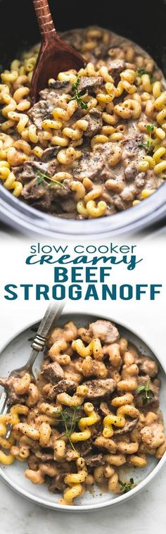 Slow cooker creamy beef stroganoff made with sour cream, steak or stew meat, and no cream of soup! A healthy (er), yet rich and savory, easy crockpot version of classic beef stroganoff. | lecremedelacrumb.com