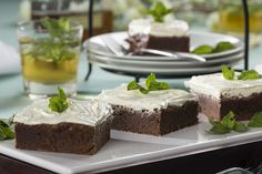 These Mint Julep Brownies are perfect for a Kentucky Derby party. This is a made-from-scratch chocolate brownie that features a classic Kentucky Derby flavor combination. Yum!