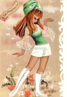 Big Eyed Girl Vintage 70s postcard by Gallarda por PrettyPostcards