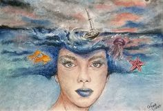Mistress of the sea/pencil&pastel by Anett Nyary