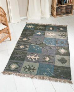 Patchworkteppich Grau/Blau, Wolle-Jute-Mix, 120 x 180 cm