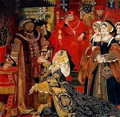Katherine of Aragon before Henry VIII at the legatine court, 1529.>>> This is very dramatized. Katherine was a Spanish princess of ancient royal blood: she loved Henry but she didn't need to put up with anyone else's baloney, and took her time entering the court. Then she appealed to his sense of decency, asking what she'd done wrong to be set aside, more or less repudiating the legitimacy of the hearings with her regal manner. And she stunned Henry with her approach.