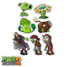 Plants vs Zombies 2: Special Set of Seven 4-6 Inch Wall Decals Walls 360