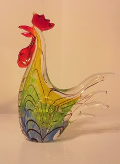 Gorgeous Murano Glass Art Multi colored Rooster ~ Chicken ~ Hen ~ Ann Primrose