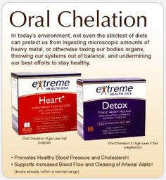 Oral Chelation will help you detox heavy metals and help clean the build up of plaque in your ateries.