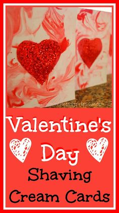 Make Cards for Valentine's Day Using Shaving Cream, #Valentines, #kids