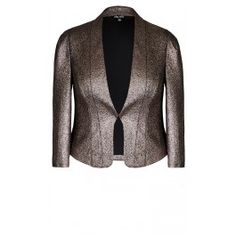 Our stunning Glamor Jacket is the epitome of layered chic. Flaunting a textured crackle metallic finish, this collarless jacket features 3/4 sleeves, shoulder pads, single hook and eye fastening, shaped hem and is lined.
