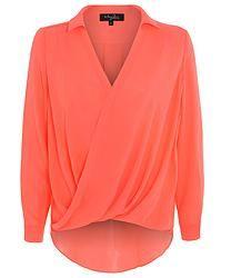 Neon Orange Chiffon Wrapover Blouse w. Hi-Low Hem Chiffon, Neon, Orange, Blouse, Long Sleeve, Womens Fashion, Sleeves, Tops, Silk Fabric
