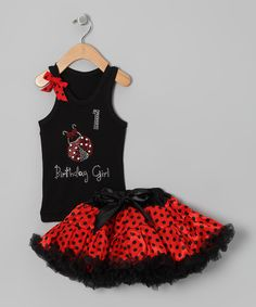 Look at this So Girly & Twirly Black Ladybug '1' Birthday Tank &…