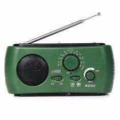 Dynamo Generator FM / AM Radio Solar Crank Powered Flashlight Emergency Charger FM Portable Radio Y4343G