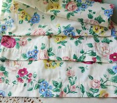 Vintage Pillowcases   Summer Flowers Multi Colored by vintagelady7