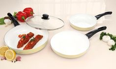 Suitable for gas, electric, induction or ceramic hob types, this pan set ensure dinners are a non-stick affair with its ceramic coating