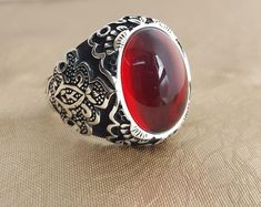 Sterling Silver Mens Ring With Garnet Stone Sterling Silver Mens Rings, Men Rings, Garnet Stone, Beautiful Rings, Class Ring, Gemstone Rings, Unique Jewelry, Handmade Gifts, Etsy