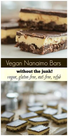 VEGAN NANAIMO BARS! Not just vegan, also nut-free and gluten-free - and whole foods based. Absolutely divine! #vegan plantpoweredkitchen.com Healthy Vegan Dessert, Vegan Dessert Recipes, Vegan Treats, Whole Food Recipes, Snack Recipes, Free Recipes, Vegan Gluten Free Desserts, Italian Desserts, Healthy Recipes