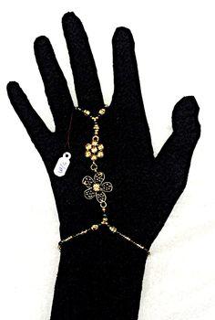 Gold Slave Bracelet and Ring Flower Embellishments and Czech Glass Beads Stretch Bracelet Hand Bracelet by CreativeNWFriends on Etsy