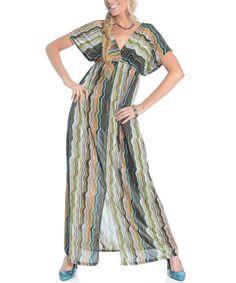 Love this Shoreline Green Zigzag Cape-Sleeve Surplice Maxi Dress by Shoreline on #zulily! #zulilyfinds