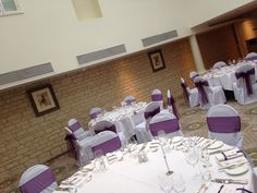 Chair covers with eggplant sashes