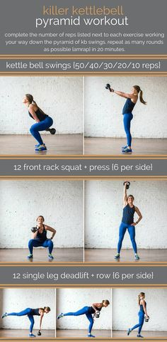 Build muscle, burn fat, and improve your cardio with this killer kettlebell pyramid workout revolving around heart-thumbing kettlebell swings! Fitness Workouts, Kettlebell Workouts For Women, Kettlebell Swings, At Home Workouts, Fitness Motivation, Fitness Weightloss, Kettlebell Cardio, Workout Routines, Kettlebell Challenge