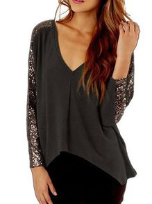 V Neck High Low Sequined Brown T-shirt