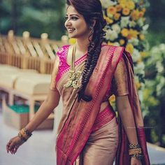 Looking forward to wear a Indigo saree? Here is the perfect style inspiration to pull off this saree! Bridal Sarees South Indian, Indian Bridal Fashion, Indian Wedding Outfits, Wedding Saree Blouse Designs, Silk Saree Blouse Designs, Blouse Neck Designs, Sleeve Designs, Lehenga Saree Design, Sari