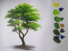 How to paint a tree in Acrylics lesson 5 - YouTube #OilPaintingForBeginners