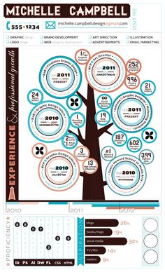 Infographic Resume :: Graphic & Web Design by Michelle Campbell, via Behance. Pinned for the chart on the botton left side
