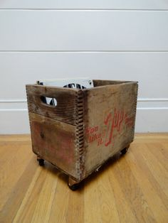 Vintage Mid Century Solid Wooden 7UP SODA POP Crate Industrial Wheeled Storage Cart