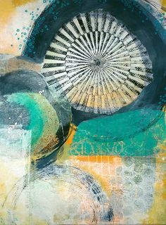 Abstract Mixed Media Original Monotype Painting and Collage - Pods