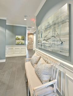 Wall color is Benajmin Moore Sea Pines. Stunning mid-toned blue/gray/green. Heather Scott Home