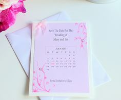 Save the date wedding cards, Pink save the date cards, Calendar save the date cards, Wedding save the date, floral save the date card by KraziCrochet on Etsy