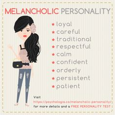 Melancholic Personality Traits – Patient, Orderly and Attentive Free Personality Test, Personality Psychology, Myers Briggs Personality Types, Myers Briggs Personalities, Infj Personality, Personality Quizzes, Psychology Quiz, Phlegmatic Personality, Counseling Psychology