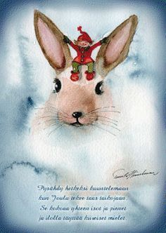 Joulun sisustus - Joulukortti Pupu ja tonttu - Hyvän Tuulen Puoti Christmas Tale, White Christmas, Christmas Crafts, Xmas, Christmas Calendar, Christmas Greetings, Christmas Illustration, Diy And Crafts, Projects To Try