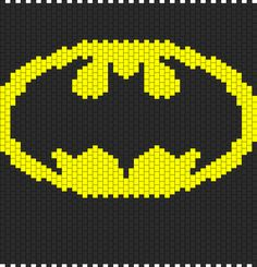 Batman Backpack bead pattern...hmmm, I think I could sew this onto a black backpack for Andrew. :)