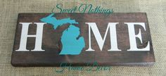 Michigan HOME Sign, College Student Gift, Home is Where the Heart is, House Warming Gift by SweetNothingsDecorMi on Etsy https://www.etsy.com/listing/201531551/michigan-home-sign-college-student-gift