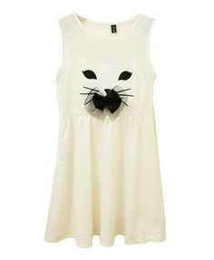 White Mesh Bowknot Sleeveless Dress - Dresses - Clothing