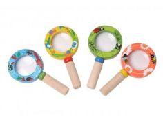 These cute little wooden magnifying glasses are perfect for studying the world around you.  Imagine examining the veins in leaves, the petals on flowers or insects under a log!  That's just in the garden!  Get yours today from www.ilovewoodentoys.com.au