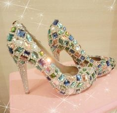 Bling Unique Crystal Diamond Wedding Bridal Shoes High Heel Waterproof Graduation Party Prom Evening Shoes