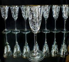 8 Art Deco Kristall Sektgläser Spiegelau Dekor Weinlaub mit Goldrand Kristall,