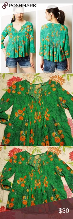 Anthropologie Vanessa Virginia Poppy Blouse Sz 2 Lovely Green blouse wit orange poppies. Loose fitting. Has amazing attention to detail down the front and back as well as beautiful stitching around the neck. In perfect condition. Anthropologie Tops Blouses