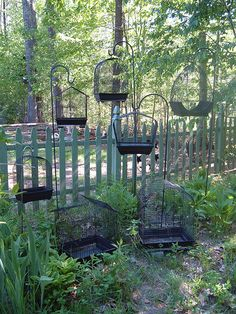 Cages, en mass, in the shadiest part of the garden. Can't wait to put candles in them!!! | by *darkly dreaming gardener*