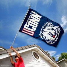 Connecticut Huskies UCONN University Large College Flag by College Flags and Banners Co.. $29.95. 3'x5' in Size with two Metal Grommets for attaching to your Flagpole. Perfect for your Home Flagpole, Tailgating, or Wall Decoration. Officially Licensed and Approved by University of Connecticut. Made of 100% Nylon with Quadruple-Stitched Flyends for Durability. The UCONN Huskies Logos are viewable on Both Sides (Opposite side is a reverse image). This UCONN Flag measures 3x5 feet...