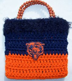 Handmade Crocheted Chicago Bears Purse free by RomancingProducts, $30.00