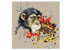 Monkey Cross Stitch kit Cross Stitch Set Embroidery Kit Luca-S DIY
