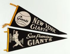 LOT OF (2) VINTAGE BASEBALL PENNANTS - NY GIANTS AND SF GIANTS