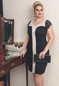 FORMA RARA Plus Size: VESTIDO BICOLOR 13059 - PRETO C/ BEGE - Chic e elegante. Um visual finíssimo para uma noite especial. Esse vestido foi criado especialmente pensando no conforto de vestir algo que alongue e te faça sentir bem. Simplesmente Perfeito para uma festa de alto padrão.